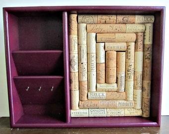 Wine Cork Board, Mail Sorter. Key Hook - Aubergine / Eggplant Purple - Front Door Organizer, Kitchen Storage, Bulletin Board, Office Decor