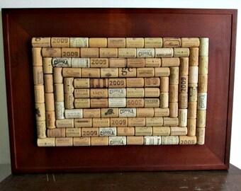 Wine Cork Board - Brown Frame - Office Decor, Home Decor, Kitchen Organizer, Bulletin Board, Message Center