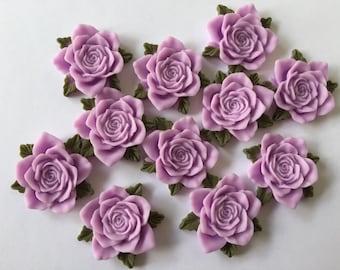 5 pcs Lavender Resin Rose Flatback Cabochon 35x38mm