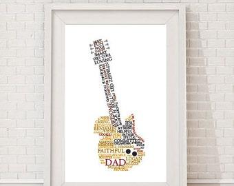 Custom Guitar Word Art