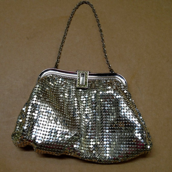 whiting and davis silver mesh small bag formal by millsvintage