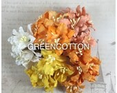 25 Mixed Orange-Yellow Color Mulberry Paper Lily flowers code  Orange-Lily