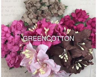 30 mixed Sweet Pink brown mulberry paper flowers code  Pi-Br/L619