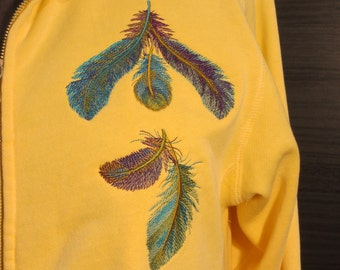 Hooded Sweat Jacket, Full Zip, Ladies Small with Embroidery Feather Design -Authentic Pigment Dyed Brand