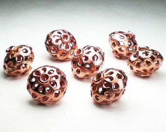 13.5mm Solid Copper Beads Large Copper Beads 7 pcs. GC-313