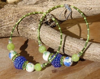 hoop dangle,  ASIAN DESIGN 3 blue flower, porcelain bead, vintage,jade, peridot green