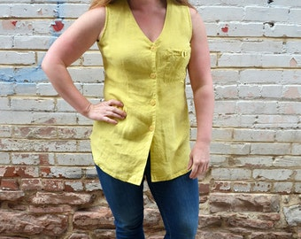 SALE 90s vintage linen yellow tank top / tunic, sleeveless blouse, pale yellow, button down, drawstring pocket