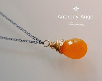 Ready To Ship - Almond Cut Mexican Fire Opal Drop Necklace