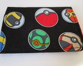 Pokemon Go Credit Card Wallet, Pokeballs Fabric, Pokemon Trainer Balls, Pokemon Go, Business Card Wallet, Gift Card Holder, Pokemon Cards
