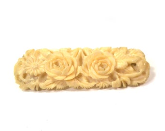 Antique Vintage Carved Bone Floral Brooch Pin