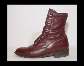 1980s Justin oxblood leather hi-top boots - men 5.5 - women 7 - 8i high ankle boots - Made in USA - punk grunge officer western - mahogany