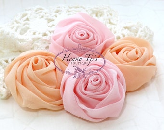 """4pcs - 2"""" inch PINK / PEACH Adorable Rolled CHIFFON Rose Rosettes Fabric flowers. Hair Accessories. Fascinator. Wedding Bridal Flowers."""