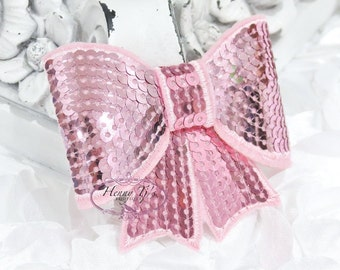 """Set of 2 - XL Sequin Bows - 3"""" Metallic BABY PINK Sequin Bow Tie Appliques. Hair Accessories. Diy Supplies. Large Sparkling Bow"""
