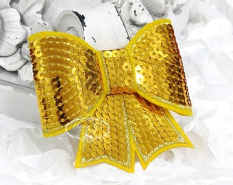 """Set of 2 - XL Sequin Bows - 3"""" Metallic GOLDEN GOLD Yellow  Sequin Bow Tie Appliques. Hair Accessories. Diy Supplies. Large Sparkling Bow"""