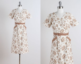 Wilhelmina . vintage 1950s dress . vintage linen dress . 5116