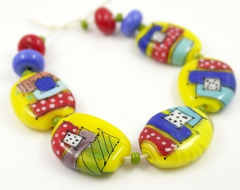 Lampwork bead set, yellow acid bead set, geometric beads, yellow glass beads, multicolor glass bead set, rotko beads