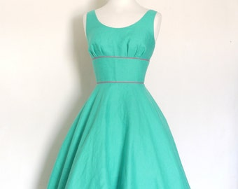Jade Green Linen Tea Dress with Circle Skirt - made by Dig For Victory
