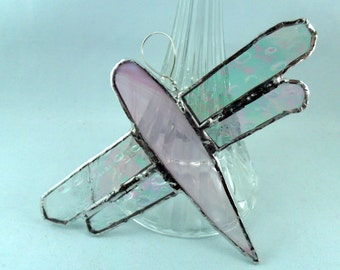 pink and gossamer stained glass dragonfly sun catcher garden art