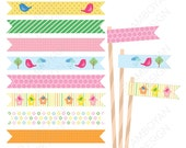 Bird's Nest Printable Straw Flag ,Baby girl baby birthday, colorful pastel pink yellow orange party birthday printable , - Instant Download