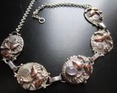 Vintage Antique Sterling Rose Gold Moonstone Art Nouveau Locket Necklace