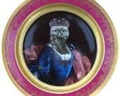 """Lady Aves, Countess of Strigidae - Altered Vintage Plate 9.75"""""""