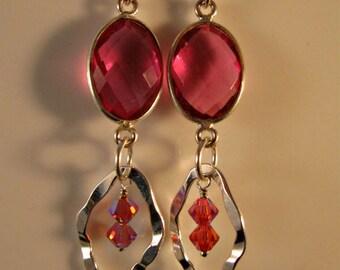 Pink Quartz Crystal Silver Hoop Earrings,silver earrings, silver hoop earrings, marquise hoop earrings, pink earrings, quartz earrings