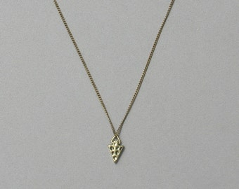 Antique Bronze Mini Arrowhead Necklace