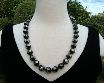 vintage cloisonne bead necklace