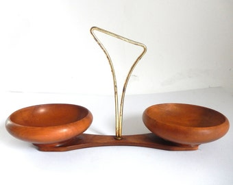 Mid Century Modern Metal and Wood Snack Bowl