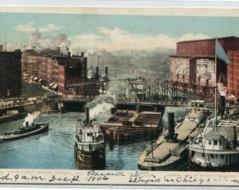 Chicago Illinois postcard Steamers Chicago River Rush Street Bridge 1906