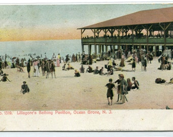 Beach Scene Lillagore's Bathing Pavilion Ocean Grove New Jersey 1907 postcard