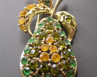 Vintage Rhinestone Fruit Pear Pin Brooch Green Amber Gold Tone