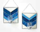 PAIR Blue Wall Candle Holder Bud Vase Chevron White Stained Glass Handmade OOAK