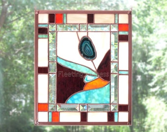 CUSTOM Desert Flower Agate Stained Glass Panel Teal Orange Purple Turquoise Flower Stained Glass