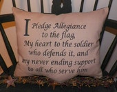 UNSTUFFED Primitive Pillow COVER Flag Pledge of Allegiance Soldier Military Service Family Saying Americana Patriotic Country wvluckygirl