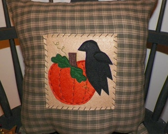 UNSTUFFED Fall Pillow COVER Primitive Crow Pumpkin Felt Decorative Autumn Harvest Halloween Country Home Decor Rustic Green Prim wvluckygirl