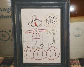 UNFRAMED Primitive Scarecrow Stitchery Country Rustic Home Decor Fall Harvest AutumnFolk Art Picture 5x7 Pumpkin Stitched Prim wvluckygirl