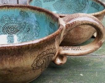 MADE TO ORDER Coffeehouse style Oversized Coffee Mug Mehndi Henna Doodle Latte mug Blue Brown Rustic Earthy wheel thrown pottery mug