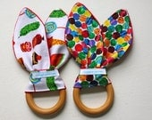 Set of TWO- Very Hungry Caterpillar Natural Wooden Teethers
