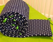 Navy and White Polka Dots Bumper with Apple Green Ties- MADE TO ORDER