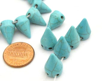 10 Beads - Turquoise color magnesite cone spike 2 hole beads - Gm369