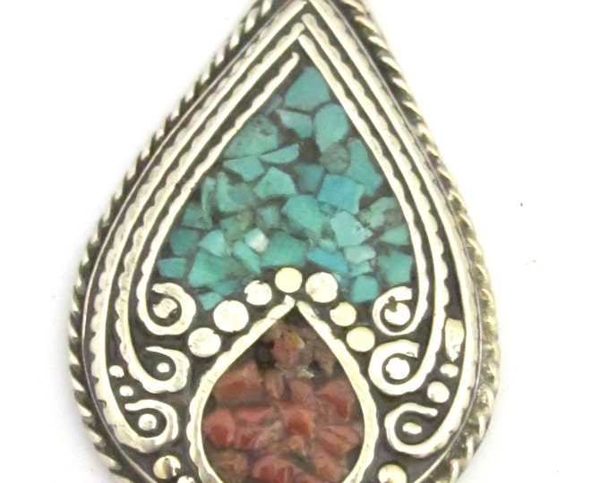 1 pendant -  Ethnic teardrop shape Tibetan silver charm pendant with coral and turquoise inlay - PM347A
