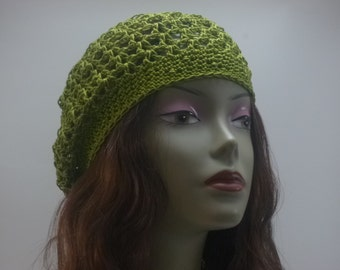 Flower in the middle green Thread Crochet  summer hat Lightweight