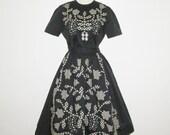 Vintage 1950s Gingham Suit Black & Ivory Applique Gingham Floral Blouse Skirt Set - Size S, M