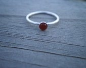 Carnelian Cabochon Ring, Sterling Silver, Size 7.5