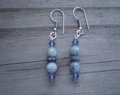 Natural Aquamarine, Sapphire, and Swarovski Crystal Bicone French Hook Earrings