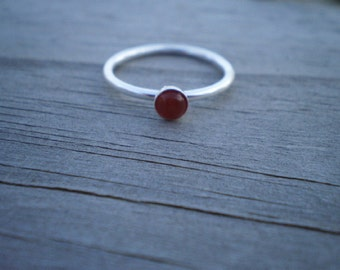 Carnelian Stacking Ring, Sterling Silver, Size 7.5
