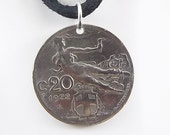 Flying Lady Coin Necklace, Italian 20 Centesimi, Coin Pendant, Handmade, Leather Cord, Mens Necklace, Womens Necklace, 1922