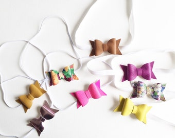 Genuine leather bow headbands-choose your color.