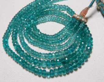 352 Crt - AAAA - High Quality Gorgeous Aqua Blue - APATITE - Micro Faceted Rondell Beads Necklace size 4 - 8 mm 3 strand - 15 inches Long